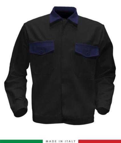 Giubbino da lavoro bicolore, Made in Italy. Due tasche sul petto. Possibilità di produzione personalizzata. Colore Nero/Blu Navy