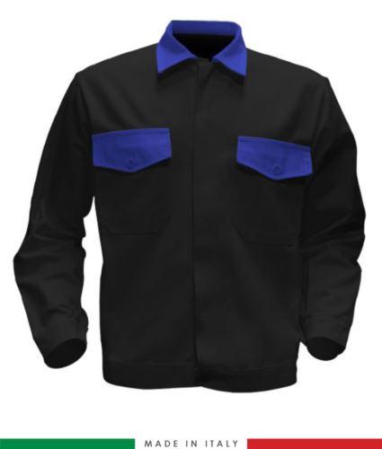 Giubbino da lavoro bicolore, Made in Italy. Due tasche sul petto. Possibilità di produzione personalizzata. Colore Nero/Azzurro Royal