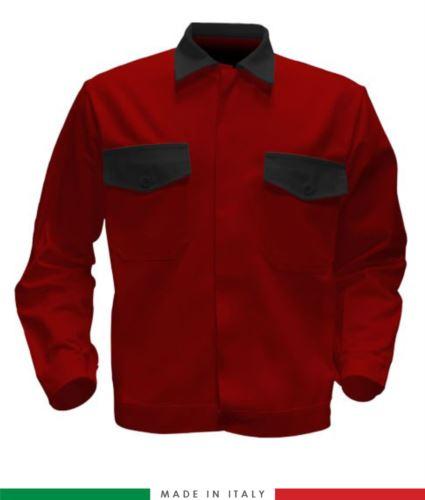Giubbino da lavoro bicolore, Made in Italy. Due tasche sul petto. Possibilità di produzione personalizzata. Colore Rosso/Nero
