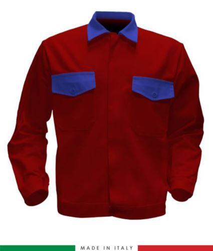 Giubbino da lavoro bicolore, Made in Italy. Due tasche sul petto. Possibilità di produzione personalizzata. Colore Rosso/Azzurro Royal