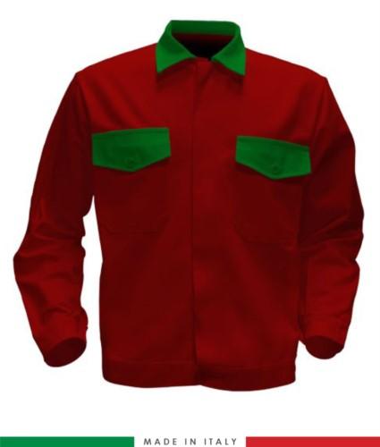 Giubbino da lavoro bicolore, Made in Italy. Due tasche sul petto. Possibilità di produzione personalizzata. Colore Rosso/Verde Brillante