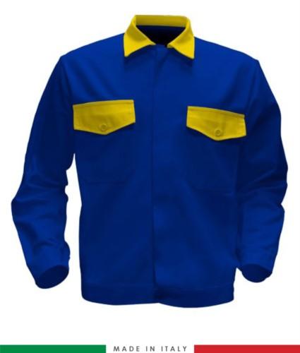 Giubbino da lavoro bicolore, Made in Italy. Due tasche sul petto. Possibilità di produzione personalizzata. Colore Azzurro Royal/Giallo