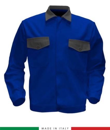 Giubbino da lavoro bicolore, Made in Italy. Due tasche sul petto. Possibilità di produzione personalizzata. Colore Azzurro Royal/Grigio