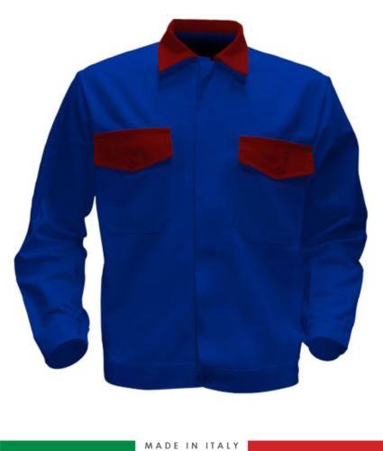 Giubbino da lavoro bicolore, Made in Italy. Due tasche sul petto. Possibilità di produzione personalizzata. Colore Azzurro Royal/Rosso