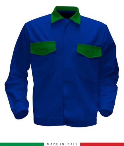 Giubbino da lavoro bicolore, Made in Italy. Due tasche sul petto. Possibilità di produzione personalizzata. Colore Azzurro Royal/Verde Brillante