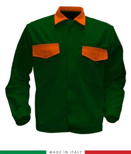 Giubbino da lavoro bicolore, Made in Italy. Due tasche sul petto. Possibilità di produzione personalizzata. Colore Verde Bottiglia/Arancione
