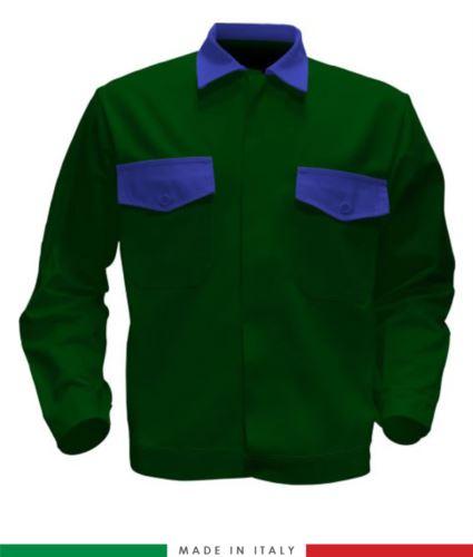 Giubbino da lavoro bicolore, Made in Italy. Due tasche sul petto. Possibilità di produzione personalizzata. Colore Verde Bottiglia/Azzurro Royal