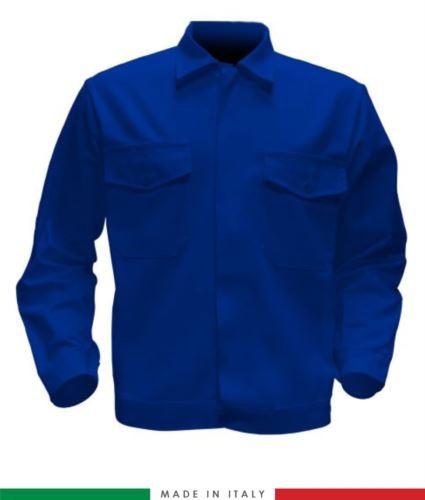 Giubbino da lavoro bicolore, Made in Italy. Due tasche sul petto. Possibilità di produzione personalizzata. Colore Azzurro Royal