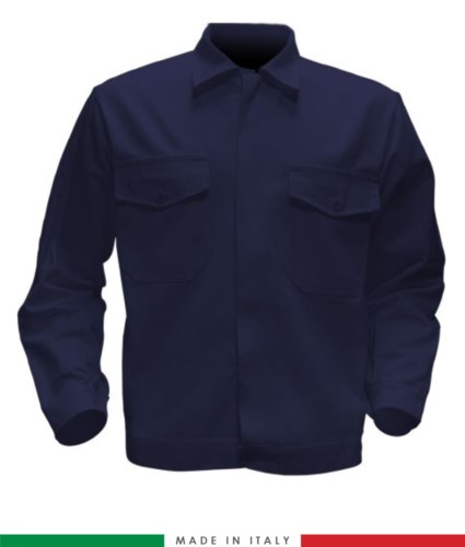 Giubbino da lavoro bicolore, Made in Italy. Due tasche sul petto. Possibilità di produzione personalizzata. Colore Blu Navy