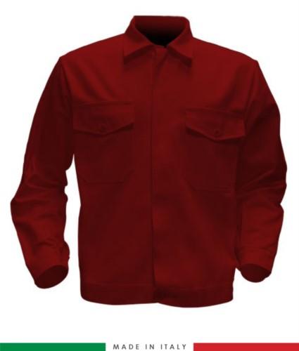 Giubbino da lavoro bicolore, Made in Italy. Due tasche sul petto. Possibilità di produzione personalizzata. Colore Rosso