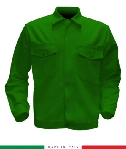 Giubbino da lavoro bicolore, Made in Italy. Due tasche sul petto. Possibilità di produzione personalizzata. Colore Verde Brillante