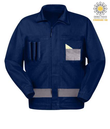 Giubbetto da lavoro multitasche bicolore con collo alla coreana. Colore Blu Navy/Grigio