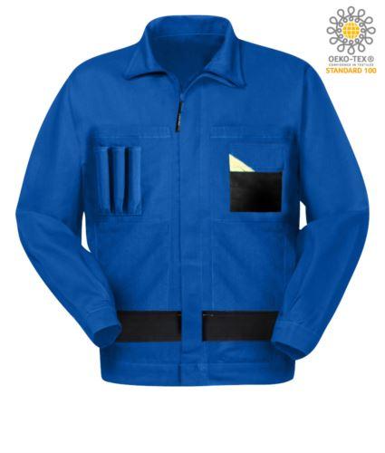 Giubbetto da lavoro multitasche bicolore con collo alla coreana. Colore Azzurro Royal/Nero