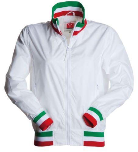 Giubbino donna non imbottito in nylon con tessuto drytech; colletto, polsini e vita in rib con colori bandiera. Colore Bianco con bandiera Italia