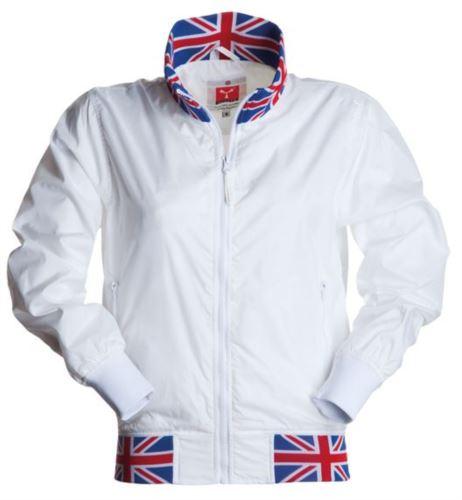 Giubbino donna non imbottito in nylon con tessuto drytech; colletto, polsini e vita in rib con colori bandiera. Colore Bianco con bandiera UK