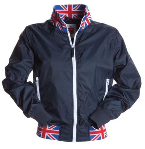 Giubbino donna non imbottito in nylon con tessuto drytech; colletto, polsini e vita in rib con colori bandiera. Colore Blu Navy con bandiera UK