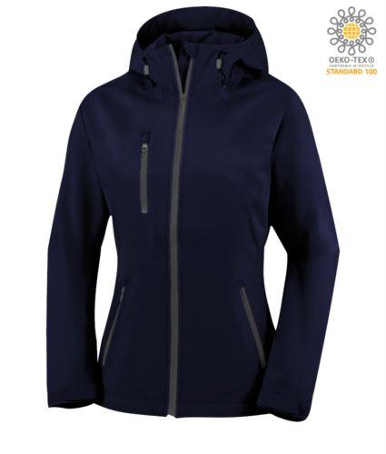 Giubbino donna in softshell a due strati con cappuccio, waterproof. Colore blu navy