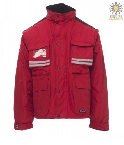 Giubbotto imbottito in ripstop, multitasche con maniche e cappuccio staccabili. Una tasca portabadge, bande riflettenti su tasche e schiena. Colore Azzurro Rosso