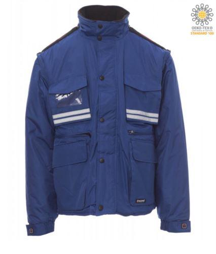 Giubbotto imbottito in ripstop, multitasche con maniche e cappuccio staccabili. Una tasca portabadge, bande riflettenti su tasche e schiena. Colore Azzurro Royal