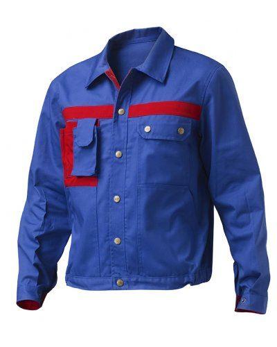 Giubbino da lavoro mulitasche bicolore, con taschino portacellulare. Colore Azzurro Royal/Rosso