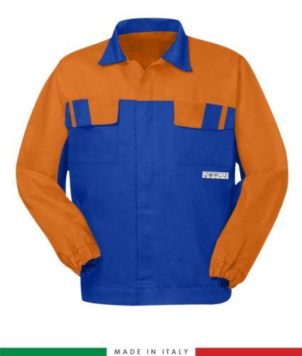 Giubbino pentavalente bicolore, chiusura con bottoni coperti, polsini a elastico, due tasche sul petto, Made in Italy, colore azzurro royal/arancione, giubbino arco elettrico