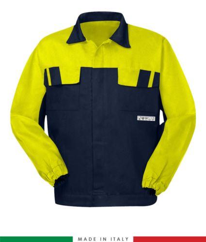 Giubbino pentavalente bicolore, chiusura con bottoni coperti, polsini a elastico, due tasche sul petto, Made in Italy, colore blu navy/giallo, giubbino arco elettrico