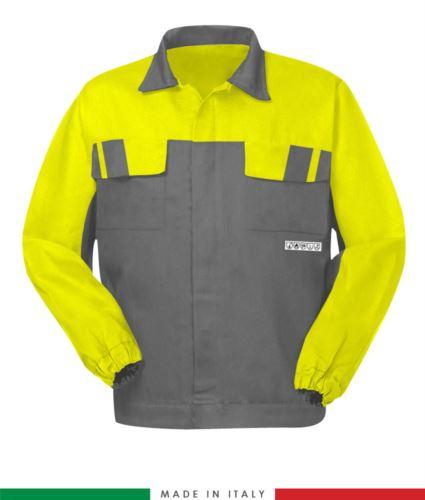 Giubbino pentavalente bicolore, chiusura con bottoni coperti, polsini a elastico, due tasche sul petto, colore grigio/giallo, giubbino arco elettrico