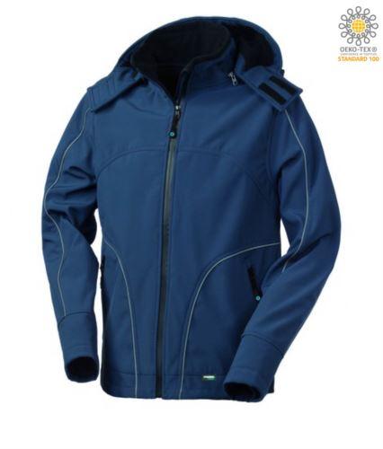 Giubbotto in softshell con cappuccio, chiusura a zip, antipioggia, profili rifrangenti anteriori, posteriori e lungo le maniche. Colore: Blu Navy