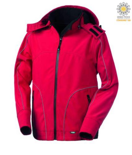 Giubbotto in softshell con cappuccio, chiusura a zip, antipioggia, profili rifrangenti anteriori, posteriori e lungo le maniche. Colore: Rosso
