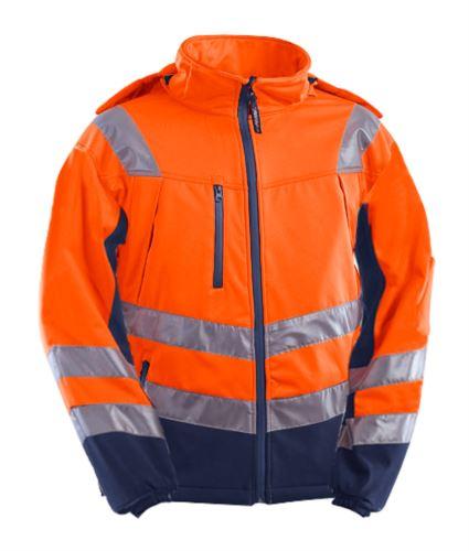 Giubbino softshell 3 strati alta visibilità bicolore, impermeabile e traspirante, cappuccio staccabile, bande alla vita e sulle maniche, certificata EN 343: 2008, EN 20471: 2013. Colore Arancione/Blu