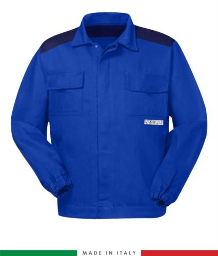 Giubbino trivalente bicolore, chiusura a bottoni coperti, due tasche sul petto, polsini con elastico, inserti di colore su spalle e interno collo, Made in Italy, colore azzurro royal/blu navy