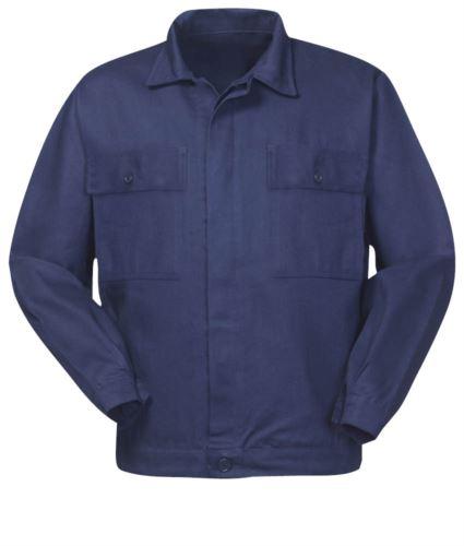 Giubbino da lavoro in cotone con due tasche al petto. Colore Blu Navy