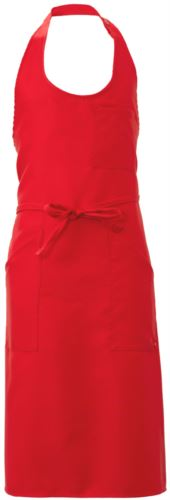Grembiule con tasche e taschini, in poliestere, colore rosso