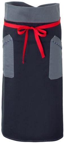 Grembiule da cuoco, chiusura anteriore in vita con nastro rosso, due tasche anteriori, colore blu/grigio
