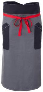 Grembiule da cuoco, chiusura anteriore in vita con nastro rosso, due tasche anteriori, colore grigio blu