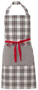 Grembiule da cuoco, chiusura anteriore con nastro rosso, tascone unico laterale, colore check marrone