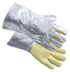 Guanti da avvicinamento, palmo in para-aramide, lunghezza 35 cm, colore argento, certificati: EN 388, EN 407, EN 420