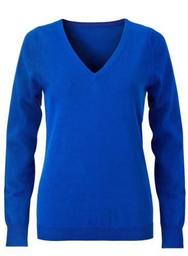 Maglioncino donna con collo a V, senza maniche, scollo e polsi a costine elastiche, tessuto a maglia 100% cotone. Colore blu royal