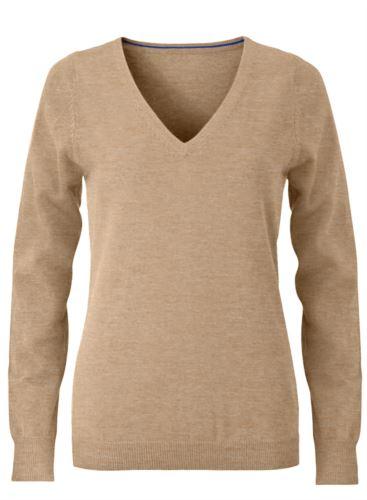 Maglioncino donna con collo a V, senza maniche, scollo e polsi a costine elastiche, tessuto a maglia 100% cotone. Colore cammello