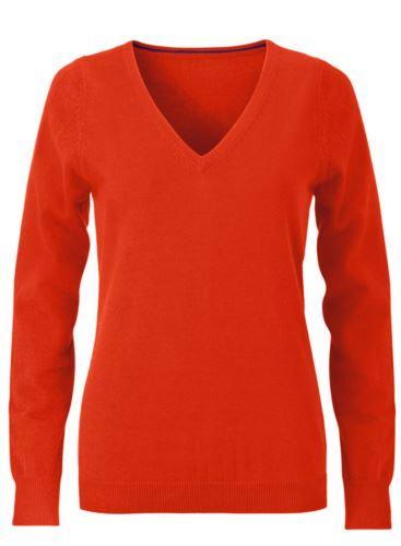 Maglioncino donna con collo a V, senza maniche, scollo e polsi a costine elastiche, tessuto a maglia 100% cotone. Colore arancione