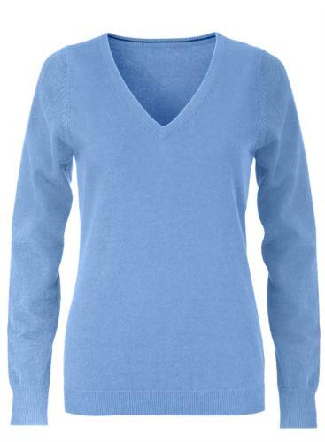 Maglioncino donna con collo a V, senza maniche, scollo e polsi a costine elastiche, tessuto a maglia 100% cotone. Colore azzurro