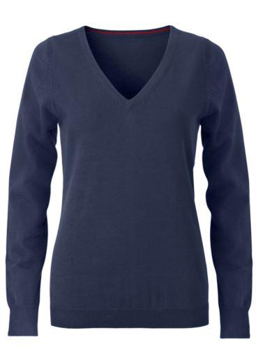 Maglioncino donna con collo a V, senza maniche, scollo e polsi a costine elastiche, tessuto a maglia 100% cotone. Colore blu navy