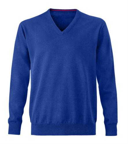 Maglioncino uomo con collo a V, senza maniche, scollo e polsi a costine elastiche, tessuto a maglia 100% cotone. Colore blu royal