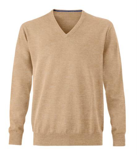 Maglioncino uomo con collo a V, senza maniche, scollo e polsi a costine elastiche, tessuto a maglia 100% cotone. Colore cammello