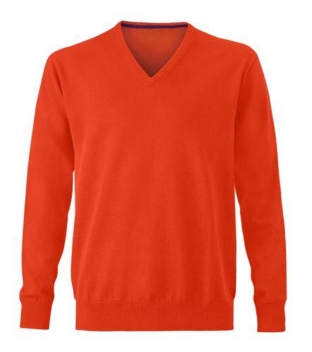 Maglioncino scollo a V arancione