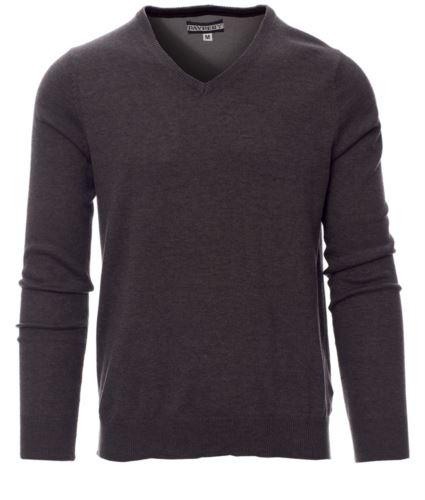 Maglione scollo a V, con polsini e vita a costine, colore grigio