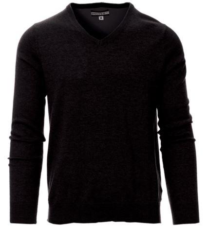 Maglione scollo a V, con polsini e vita a costine, colore nero