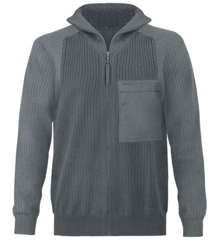 Maglione uomo collo alto, zip lunga, toppe spalle e gomiti, due tasche in vita, tessuto 100% acrilico, colore grigio