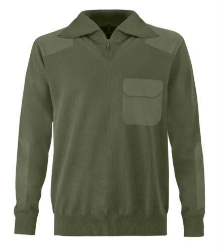Maglione uomo collo alto, zip corta, toppe spalle e gomiti, taschino con patella, tessuto 100% acrilico, colore kaki