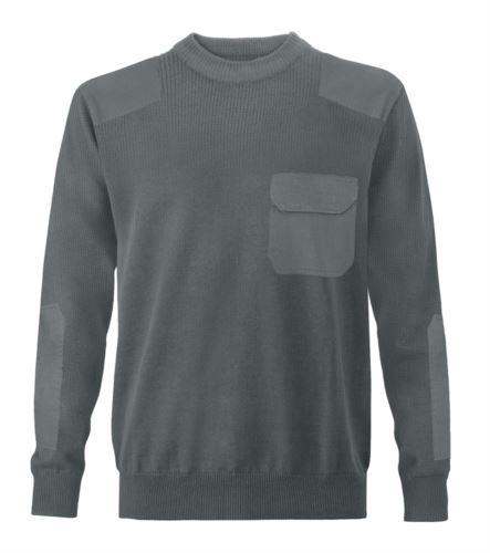 Maglione uomo girocollo, tessuto a maglia punto grosso, toppe spalle e gomiti, taschino con patella, tessuto 100% acrilico, colore grigio